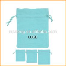 Light blue velveteen pouch