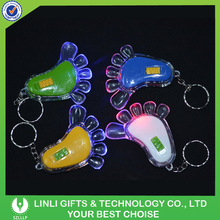 Acrylic led foot shape colorful keyring led