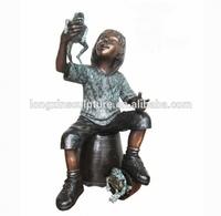 Bronze Boy on Bucket with Frogs Statue Sculpture/Outdoor Bronze Statues and Sculptures Boy