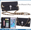 Rhinestone Luxury Design Flip Wallet Leather Case for iPhone 6 Plus with Shoulder Chains
