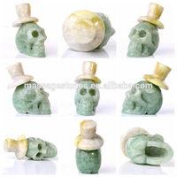 "2"" Green Jade crystal skull wholesale excellent natural stone skull"