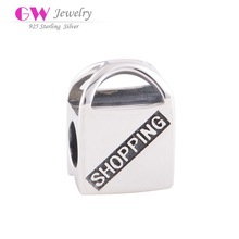 """New and Hot hand bag Shopping Charms with S925 silver stamped """"SHOPPING""""Letter"""