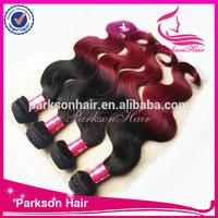 Wholesale hair grade 7A virgin peruvian hair two tone color body wave human hair extension