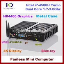 2015 New HTPC, Mini PC, Intel i7-4500U 1.8-3Ghz CPU, 4GB RAM+64GB SSD, 4*USB 3.0, 4K, 1920P HD DP Supported