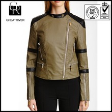 2014 newest design for women pu jacket leather motorcycle jacket for women with zipper