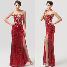 Grace Karin 2015 Sexy Long Red Sequins Free Prom Dress CL6102
