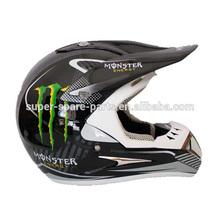 Motorcycle open face black blue dirt bike 3/4 helmet
