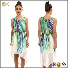 la moda de primavera de coloresimpresos simple vestido de hawaiano para las mujeres