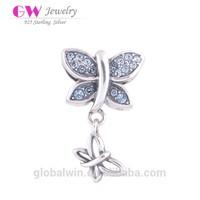 Wholesale Newest 925 Butterfly CZ Beads Bracelet Jewelry Charms