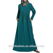 2014 Pleated Plain Basic long sleeves dubai fashion abaya in china