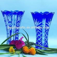 Bohemian Czech Cobalt Blue,red,green,purple mini glass vase/Sandblasted,engraved Mini Glass Flower Vase for church,hotel & home