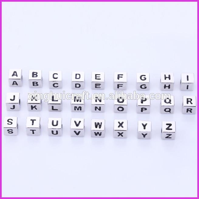 alibaba express sıcak satış metal küp alfabe harfinden boncuk