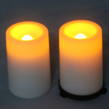 White dewatering flameless plastic led candle for church or outdoor lantern hanging