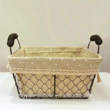 high quality decorative iron wire basket rectangular shape