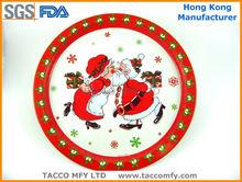 Christmas round metal tin tray