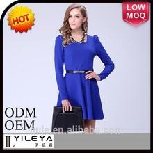 2015 nova moda feminina uma peça vestido casual azul para adulto modelo de vestido duas cores