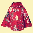 Floral girls thick coat 2014 new autumn and winter children's clothing female wild casual quilted cape cloak