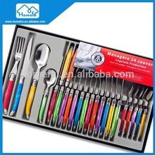 24pcs Color Plastic Handle laguiole tableware