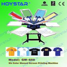 6 color silk screen printer micro registration for t shirt