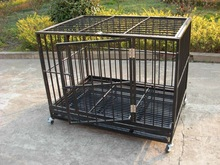 2 doors deluxe folding square tube heavy duty dog crate