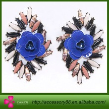 Hot selling Attractive latest design Blue flower diamond earrings