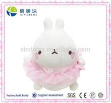 Plush Cute Chubby Rabbit in Ballerina Skirt Clothing Costume Stuffed Toy