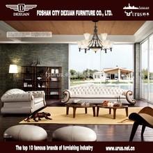 Luxo móveis para a casa aquecida frame de madeira sofá de couro dx-165