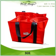 6 pack non-woven wine bag, bottle shopping bag