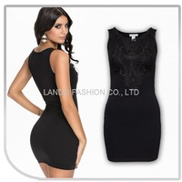 Sexy Lady Black Lace See-through Back Cap Sleeve Dress Lily