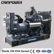 230kva open type Deutz magnetic power backup generator