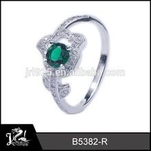 JRL fashion jewelry flower 925 sterling silver emerald diamond ring wholesale