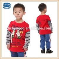 (A3448) Red 3-8Y China factory cheap nova brand applique shoe baby boys autumn tshirts