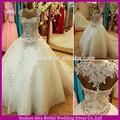 Sw534 de lujo con cuentas de encaje de cristal de la cola larga kleinfeld boda vestidos 2015