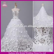 SW712 beaded bodice hand made flower long tail custom peacock wedding dresses
