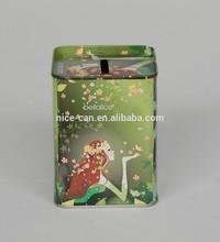 caixa quadrada da lata dinheiro banco de moeda pode estanho moeda