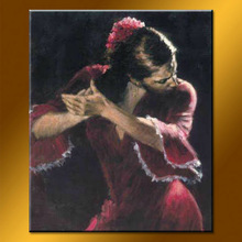Modern Handmade Sexy Girl is Dancing Flamenco Oil Painting