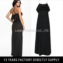 Strap Cross Back Frill Detail Black Ladies Simple Long fancy maxi dress