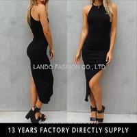 100% cotton BASIC SLIM FIT FLATTERING HIGH NECKLINE MAXI NIGHT DRESS