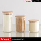 Modern Turkish hand blown glass glass storage jars with wood lids
