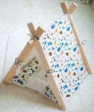 Fabric Pet teepee tent/square roof tent with animal printing,indoor and out door tent