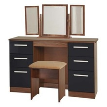 Huaxu indoor furniture high gloss large dressing table in walnut and black