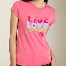 women clothing colorful word printed t-shirt