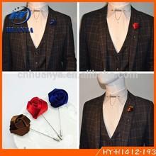 Fashion Handmade Men Fabric Stain Rose Flower Lapel Pins Wholesaler Men's Lapel Flower