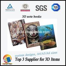 3d notebook/writing journals for sale/3d lenticular spiral notebooks