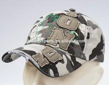 Camouflage single stitch embroidery cotton baseball cap
