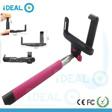 2015 Hottest Colorful Cable Take Pole Selfie Stick With Bluetooth Remote Button