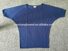 trade assurance 2015 summer viscose bat wear t shirt for women with u neck top