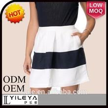 2015 designer de moda senhoras saias preto e branco curto meninas mini saia para dançar