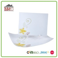 Top quality white square plastic serving trays plate with flower