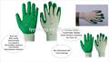 Vente d'usine rouge latex gants de travail, latex gants de travail enduit
